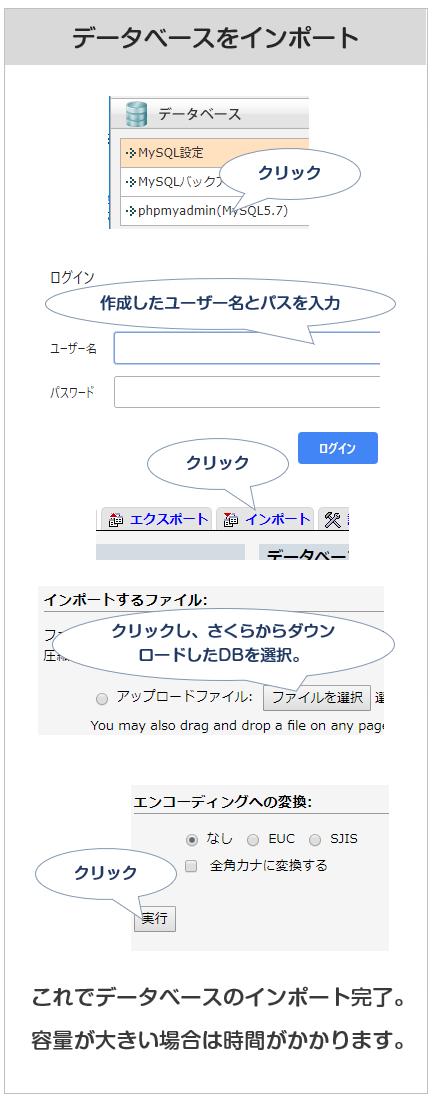 エックスサーバーにデータベースwインポートする方法