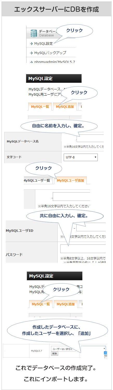 エックスサーバーでのデータベース作成方法