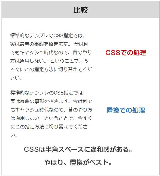 CSSで改行を無くすと半角スペースが生まれてしまい、不自然になる