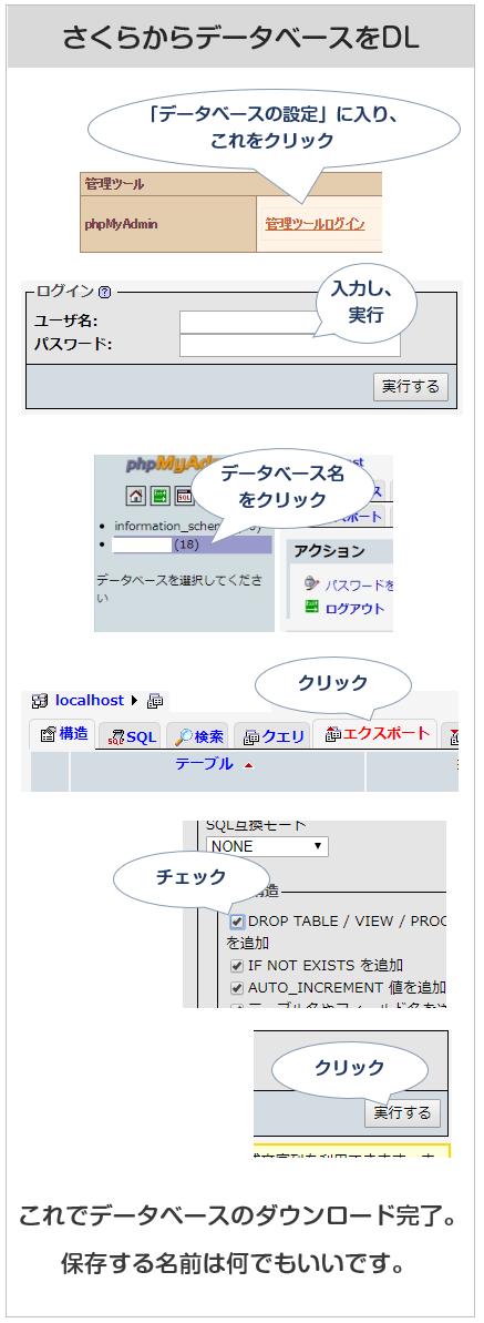 さくらレンタルサーバーからデータベースをダウンロード
