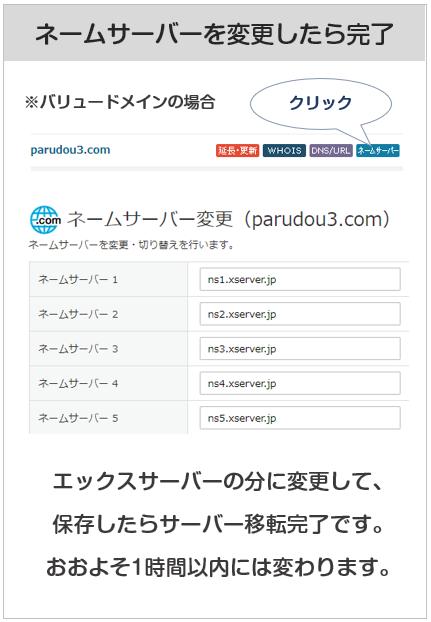 ネームサーバーの変更方法
