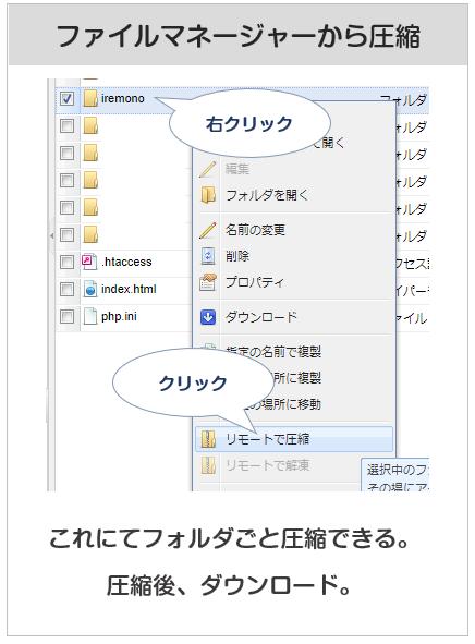 さくらのレンタルサーバーのコントロールパネルのファイルマネージャーから、ドメインのフォルダを圧縮する